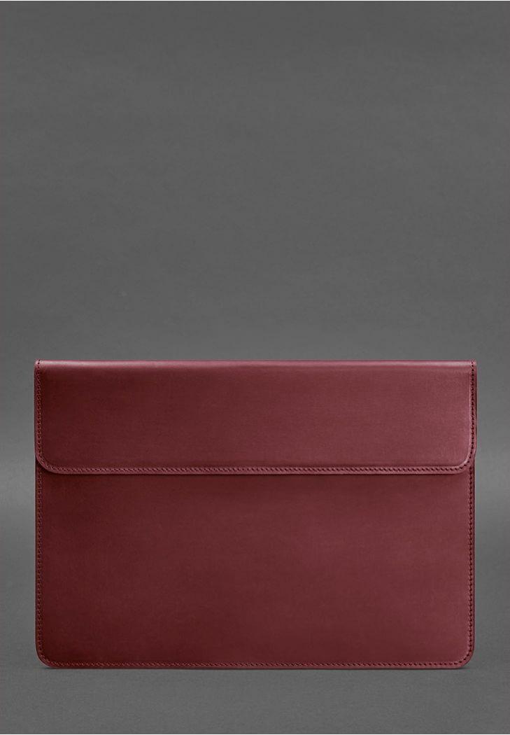 Фото Кожаный чехол-конверт на магнитах для MacBook Air/Pro 13'' Бордовый Crazy Horse (BN-GC-9-vin-kr)