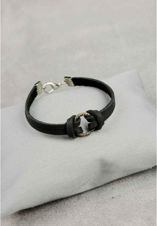 Фото Браслет кожаный с кольцом графит BlankNote