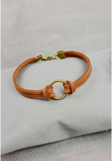 Браслет кожаный с кольцом коньяк