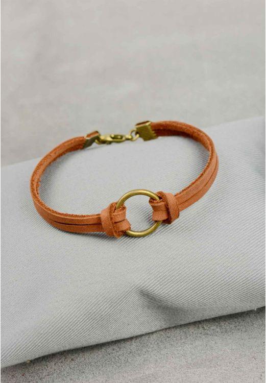 Фото Браслет кожаный с кольцом коньяк BlankNote