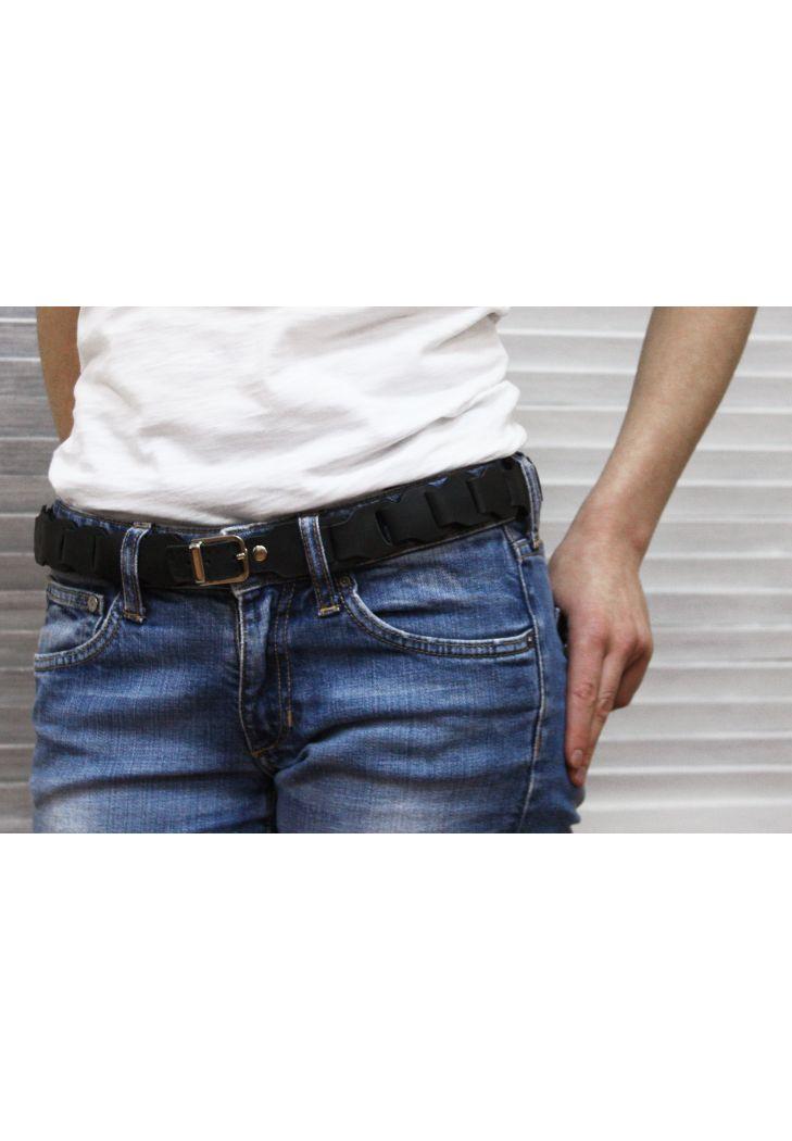 Фото Женский кожаный бохо-ремень черный
