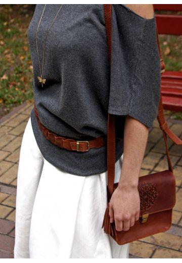 Женский кожаный бохо-ремень светло-коричневый