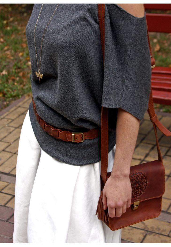 Фото Женский кожаный бохо-ремень светло-коричневый