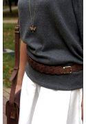 Фото Женский кожаный бохо-ремень темно-коричневый