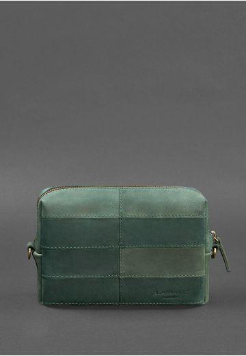 Кожаная косметичка-несессер 3.1 Зеленая Crazy Horse