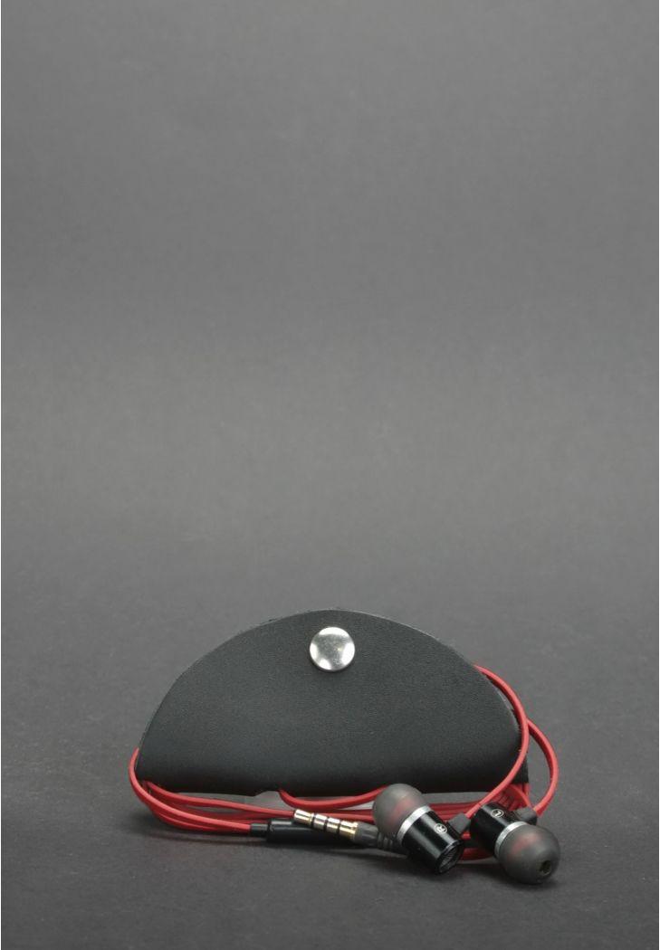 Фото Кожаный холдер для наушников черный
