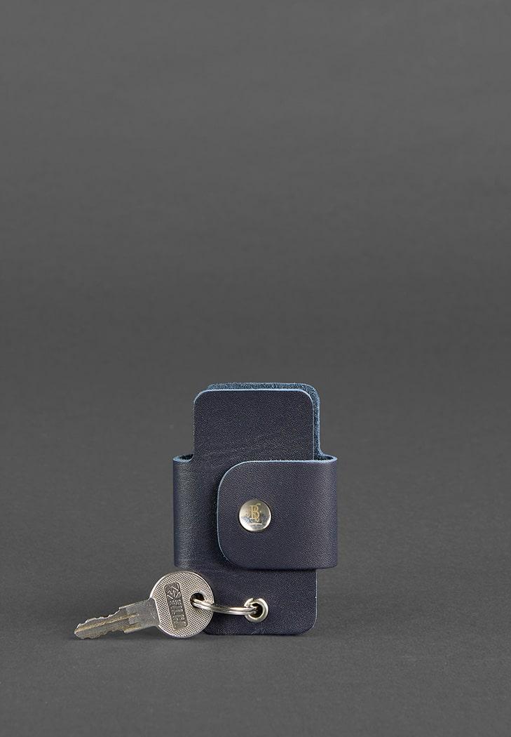 Фото Кожаная ключница смарт-кейс 4.0 темно-синяя