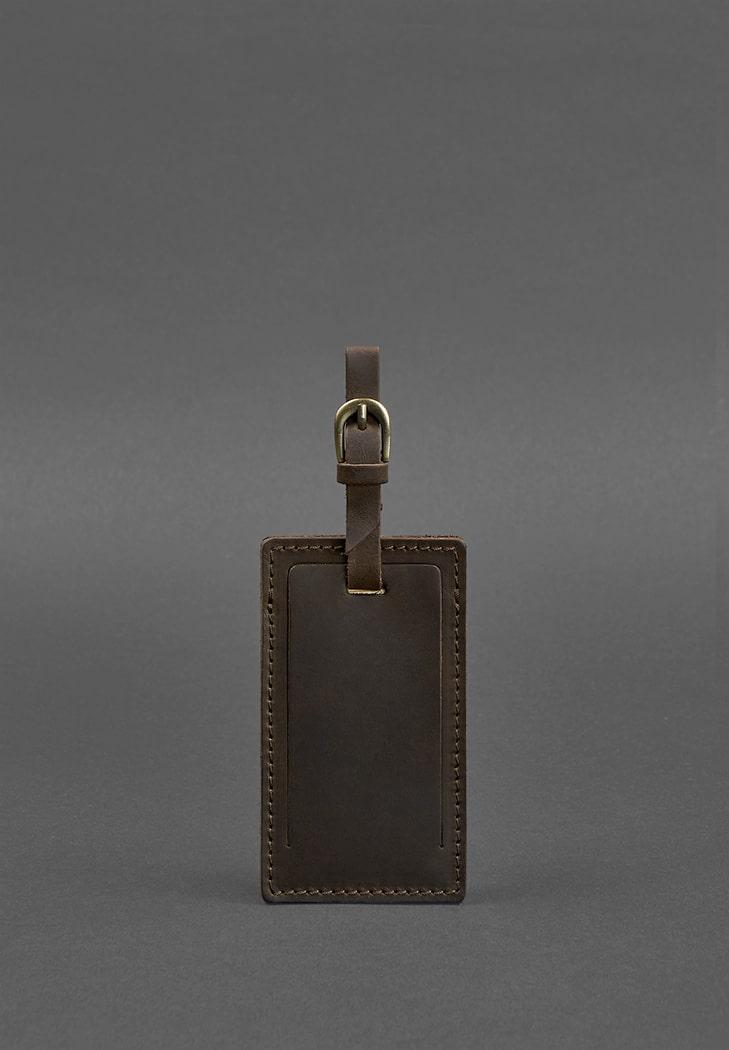 Фото Кожаная бирка для багажа 3.0 Темно-коричневая Crazy Horse