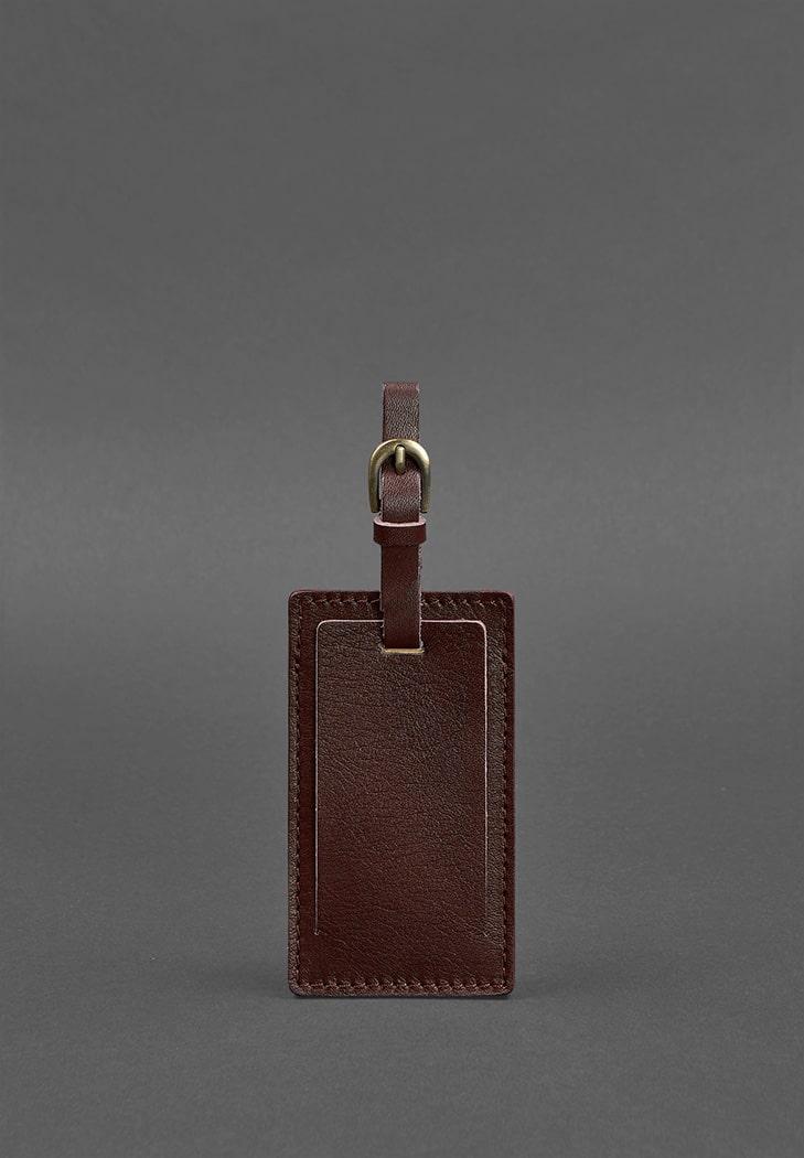 Фото Кожаная бирка для багажа 3.0 Бордовая Краст