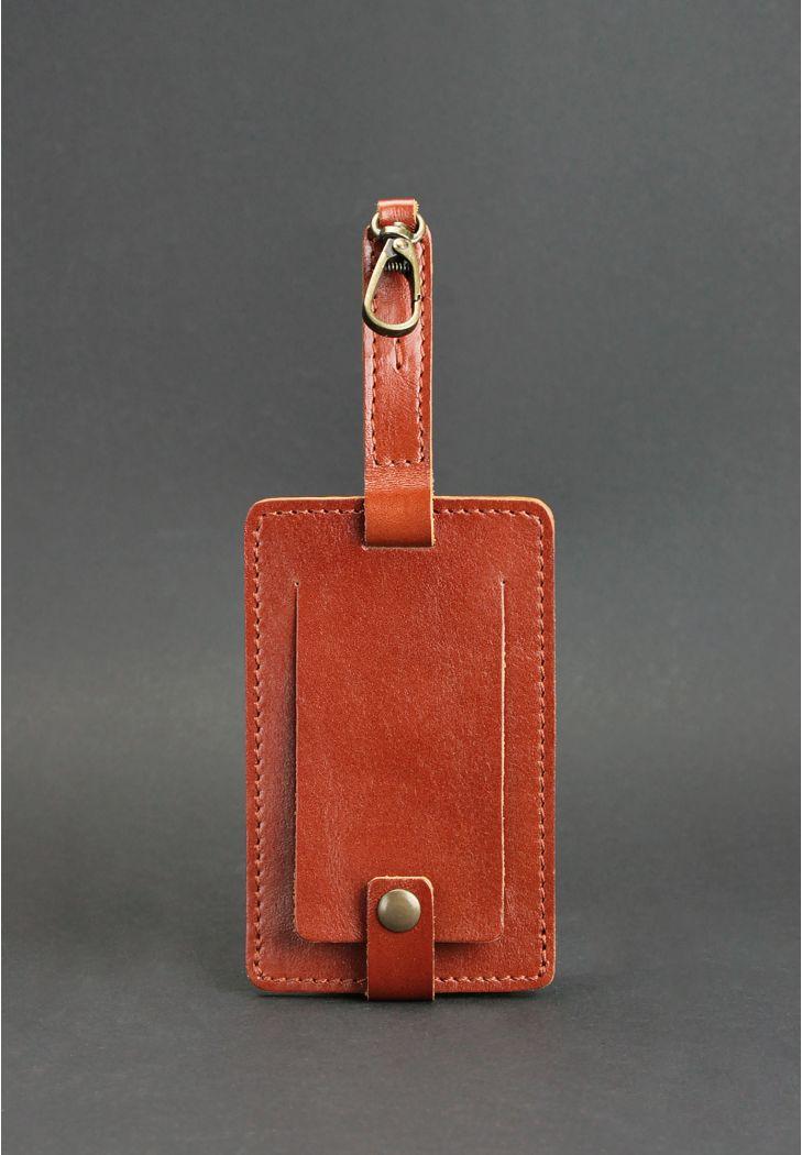 Фото Кожаная бирка для багажа Бланк-тэг светло-коричневая