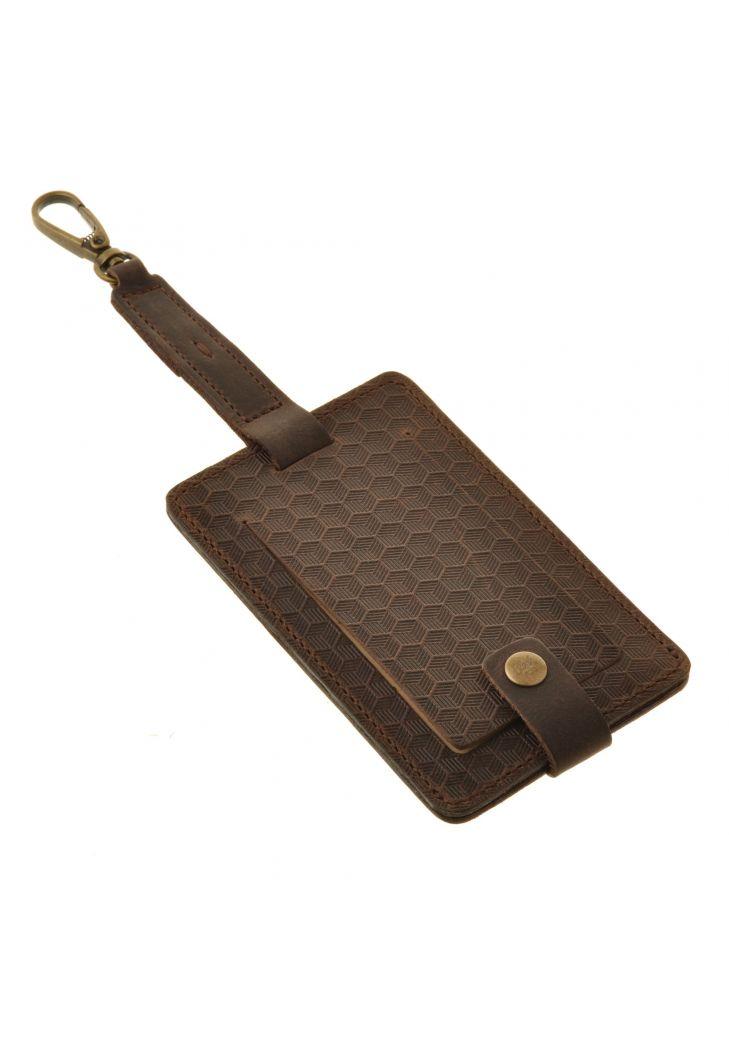 Фото Кожаная бирка для багажа Бланк-тэг темно-коричневая Карбон