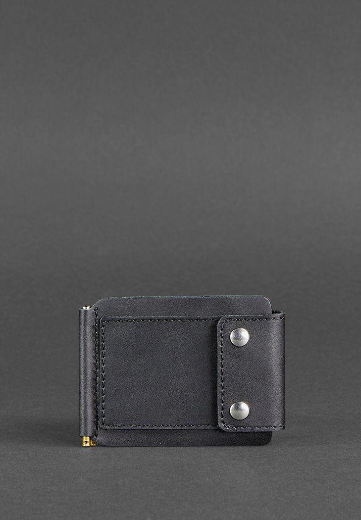 Фото Мужское кожаное портмоне черное 10.0 зажим для денег