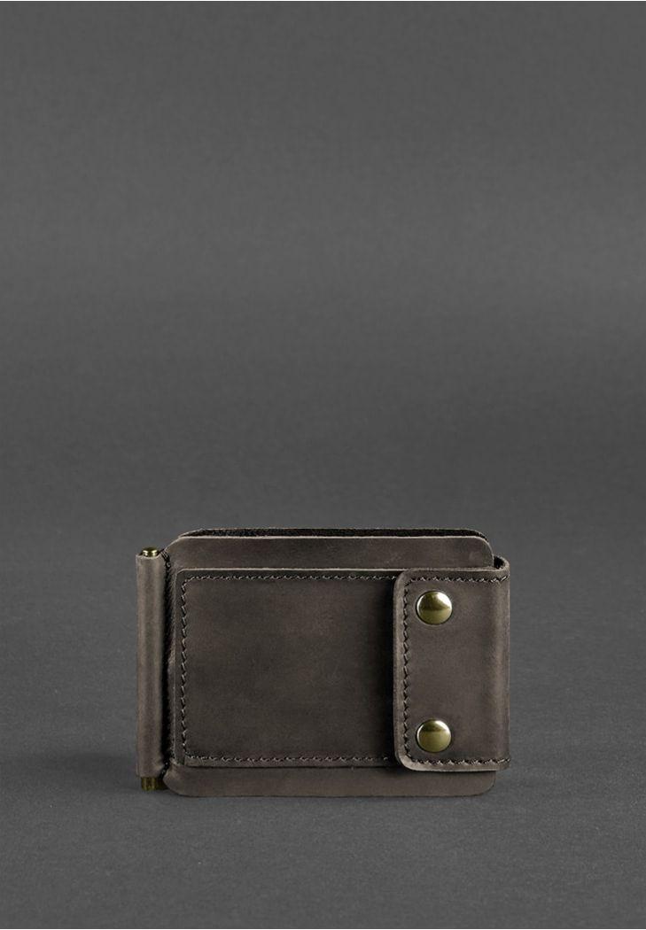 Фото Мужское кожаное портмоне темно-коричневое 10.0 зажим для денег Crazy Horse