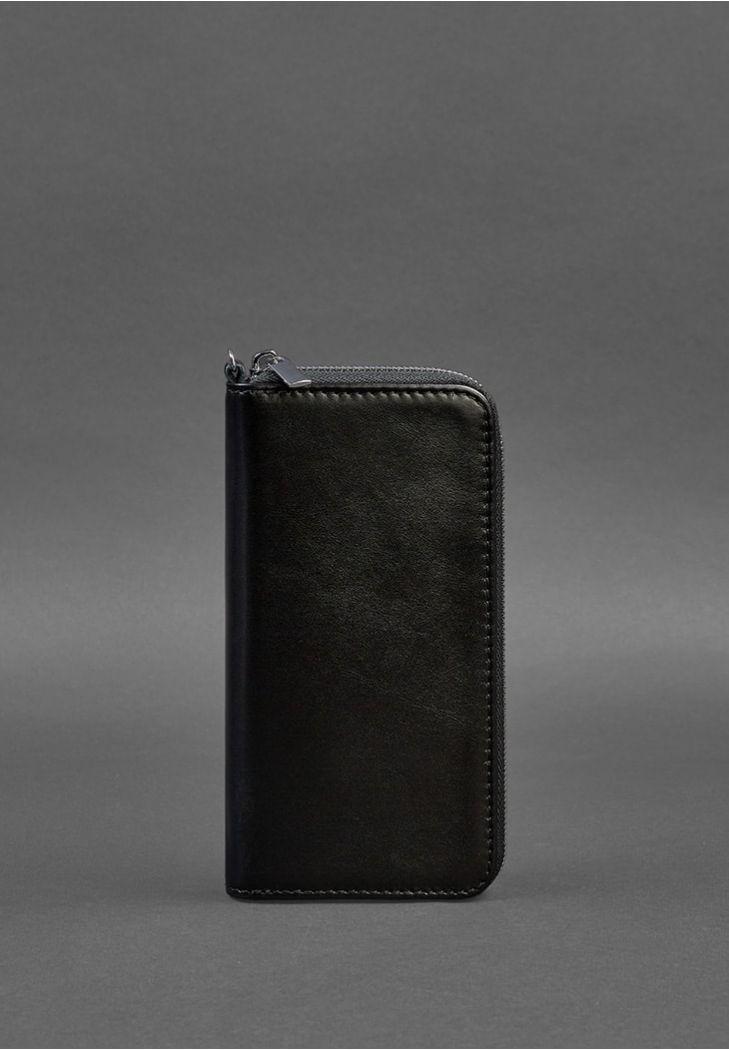 Фото Кожаное портмоне на молнии 6.1 Черное