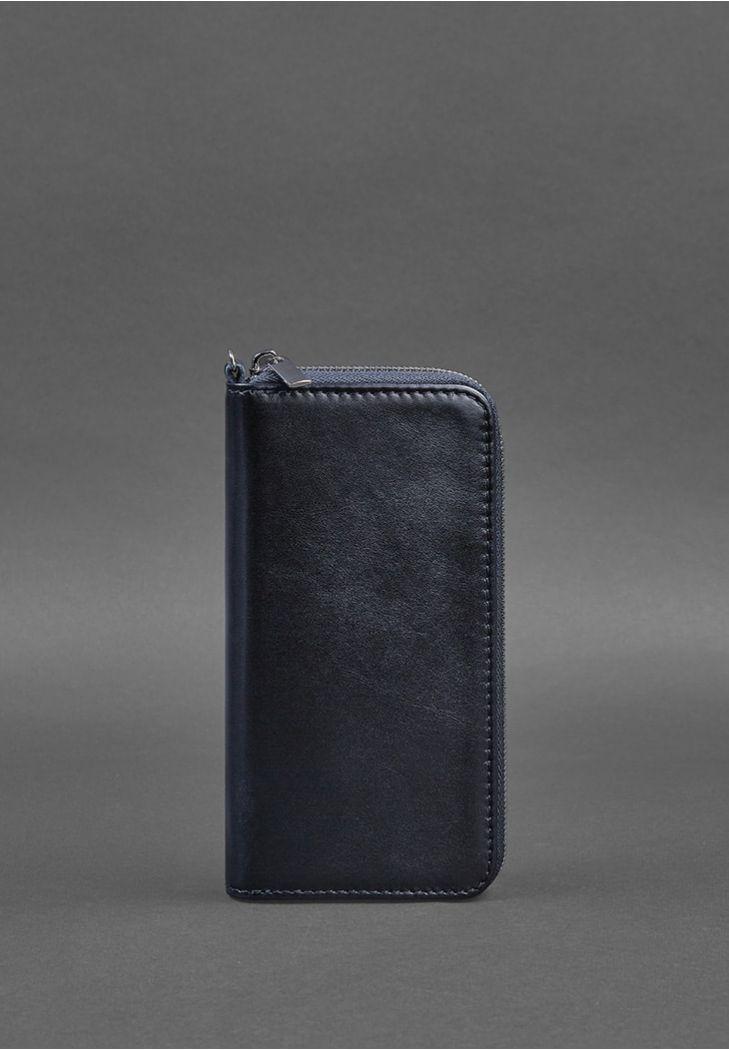 Шкіряне портмоне на блискавці 6.1 Темно-синє фото