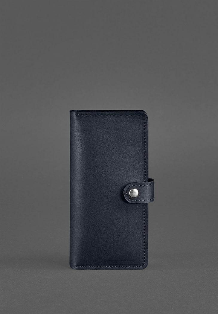 Кожаное портмоне 7.0 темно-синее - BN-PM-7-navy-blue