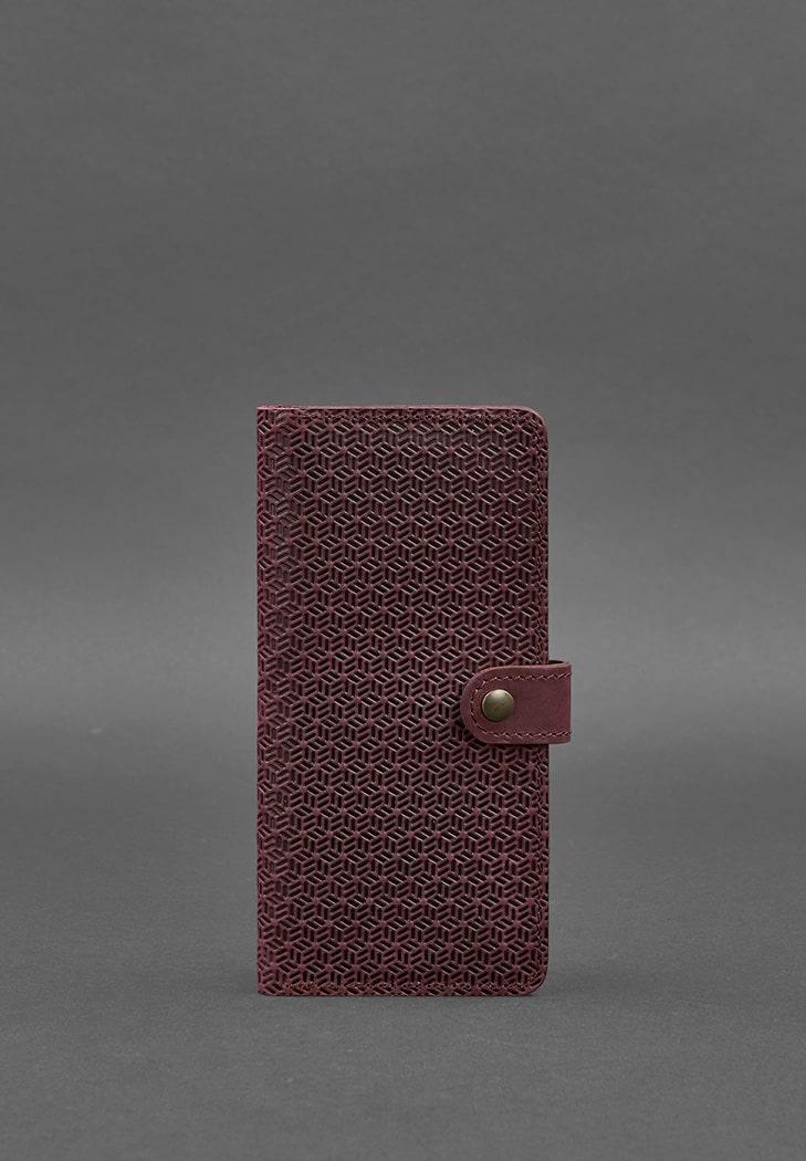 Кожаное женское бордовое портмоне 7.0 Карбон фото