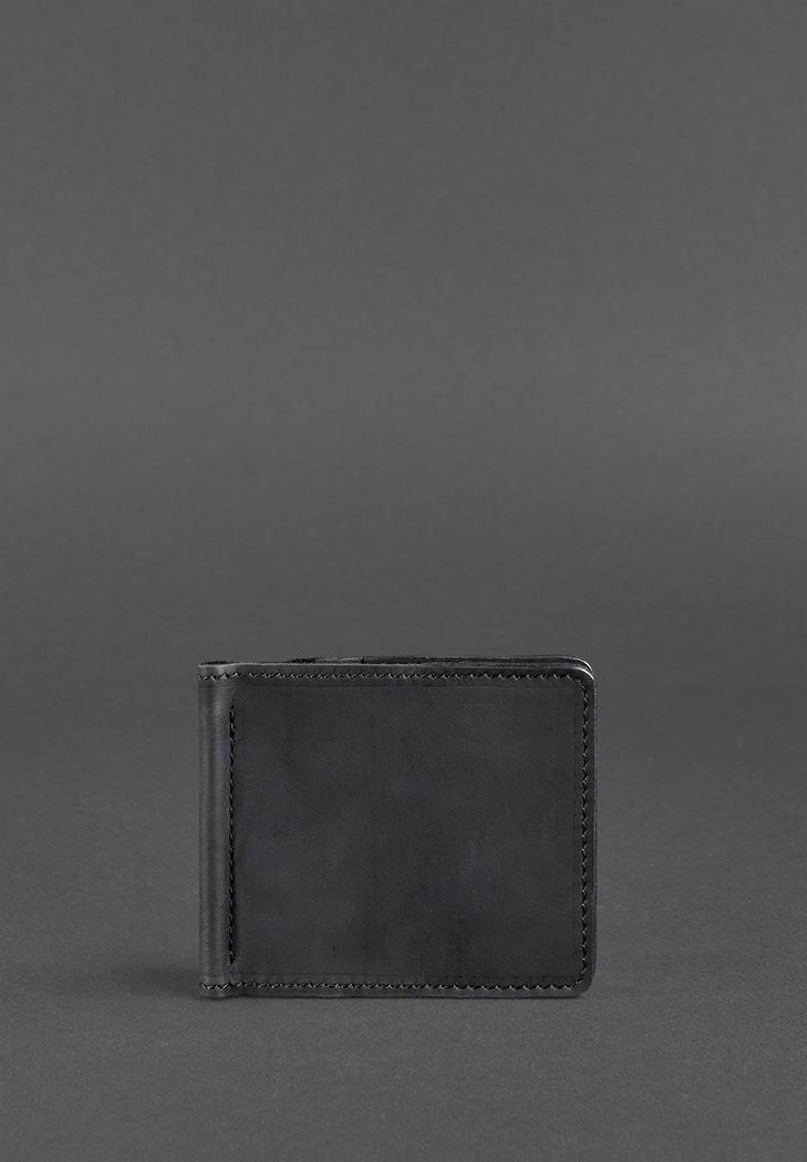 Мужское кожаное портмоне черное 1.0 зажим для денег Crazy Horse (BN-PM-1-g-kr) - купить по доступной цене в интернет-магазине Blanknote