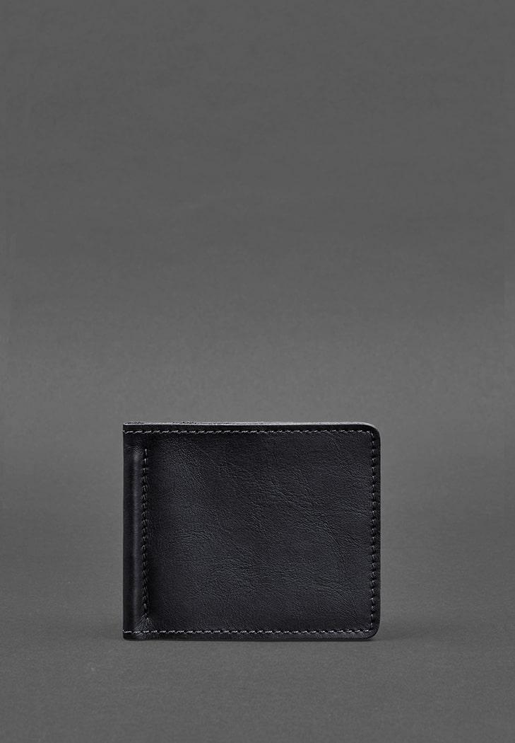Фото Мужское кожаное портмоне синее Краст 1.0 зажим для денег ( BN-PM-1-navy-blue )