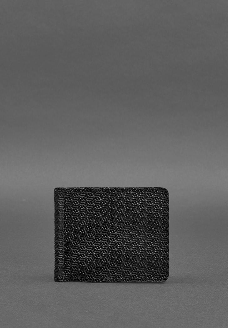Мужское кожаное портмоне 1.0 зажим для денег черный Карбон (BN-PM-1-g-karbon) - купить по доступной цене в интернет-магазине Blanknote