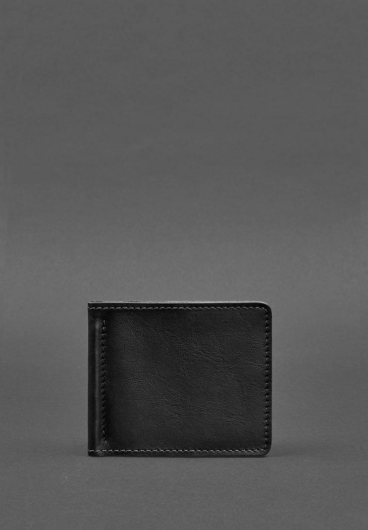 Фото Мужское кожаное портмоне черное Краст 1.0 зажим для денег
