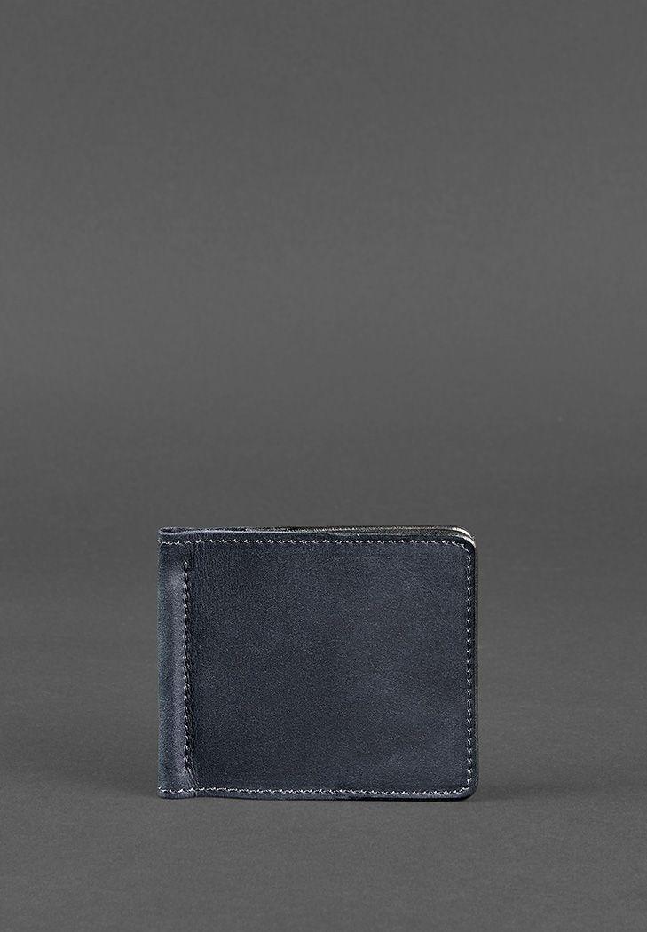 Мужское кожаное портмоне синее 1.0 зажим для денег (BN-PM-1-nn) - купить по доступной цене в интернет-магазине Blanknote
