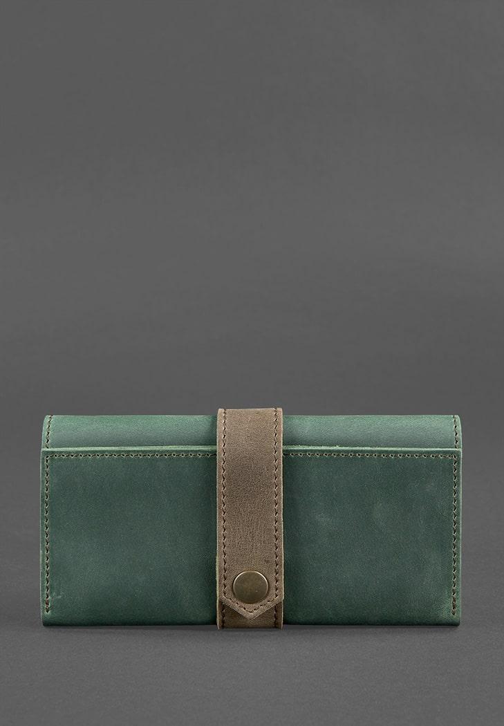 Фото Кожаное женское портмоне 3.0 зеленое с коричневым