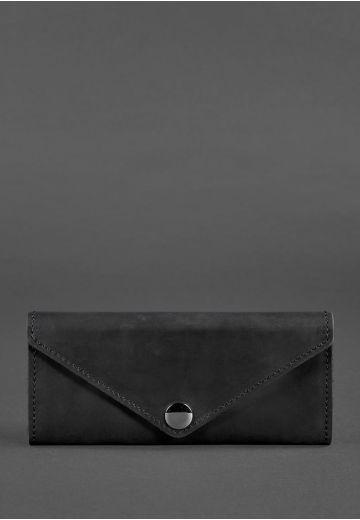 Женский кожаный кошелек Керри 1.0 черный Crazy Horse