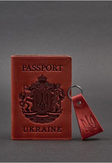 Подарочный набор кожаных аксессуаров с украинской символикой коралл