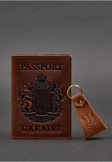 Подарочный набор кожаных аксессуаров с украинской символикой светло-коричневый