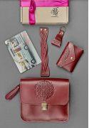 Фото Женский подарочный набор кожаных аксессуаров Бордо Краст