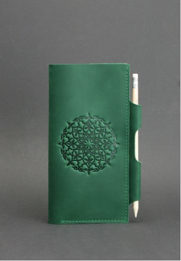 Кожаный женский тревел-кейс 3.0 зеленый с мандалой