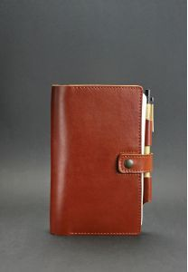 Кожаный блокнот (Софт-бук) 4.0 Коньяк - коричневый