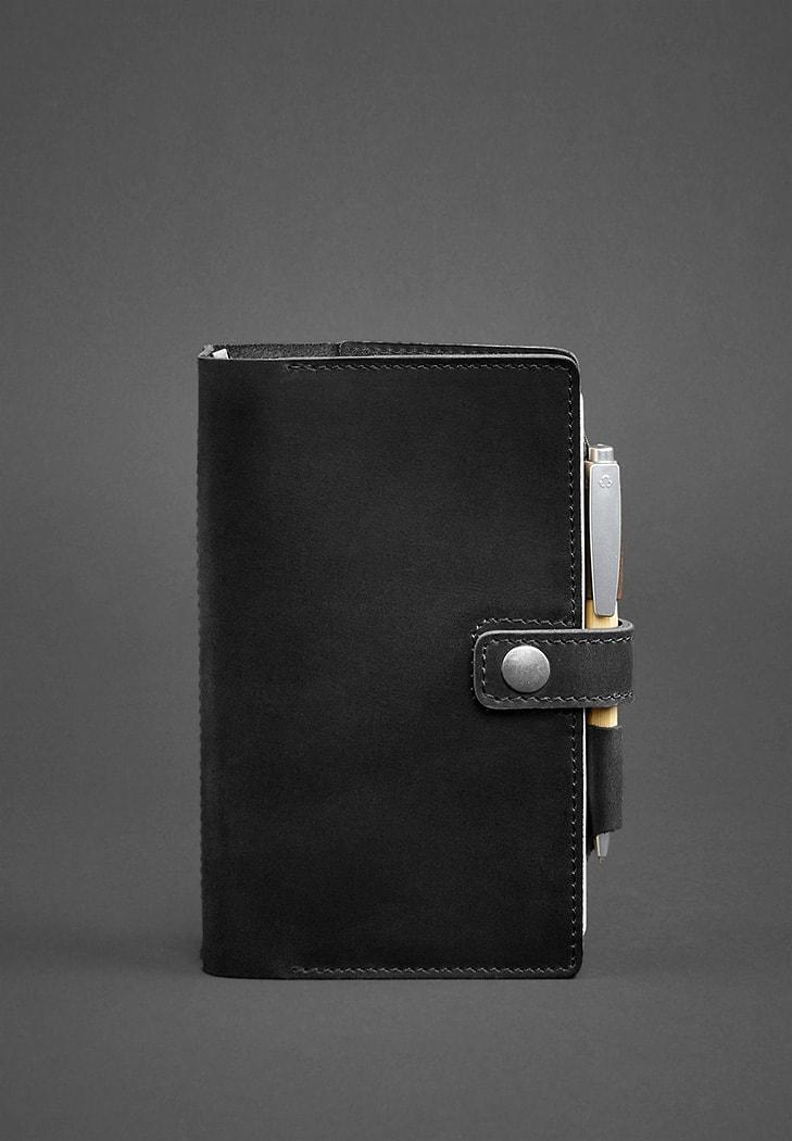 Кожаный блокнот (Софт-бук) 4.0 черный Crazy Horse