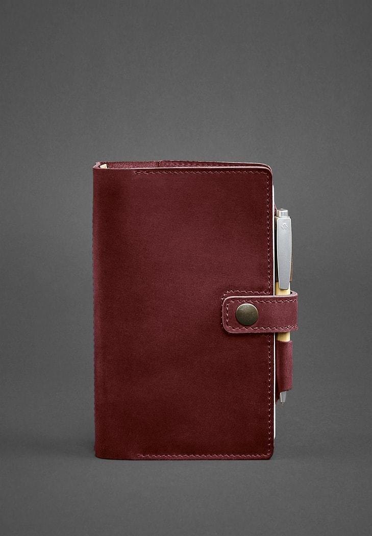 Кожаный блокнот (Софт-бук) 4.0 ,бордовый Crazy Horse