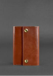 Кожаный блокнот (софт-бук) 5.0 коньяк - коричневый