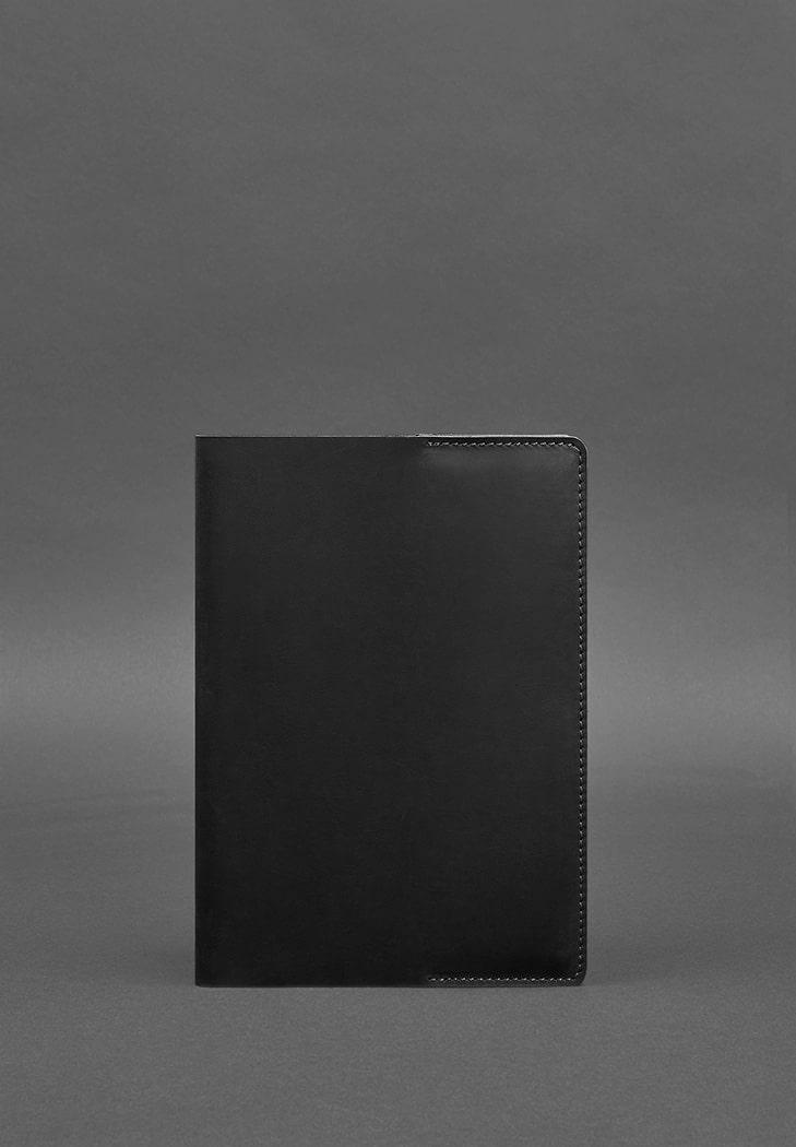 Фото Кожаная обложка для блокнота 6.0 (софт-бук) черная Crazy Horse
