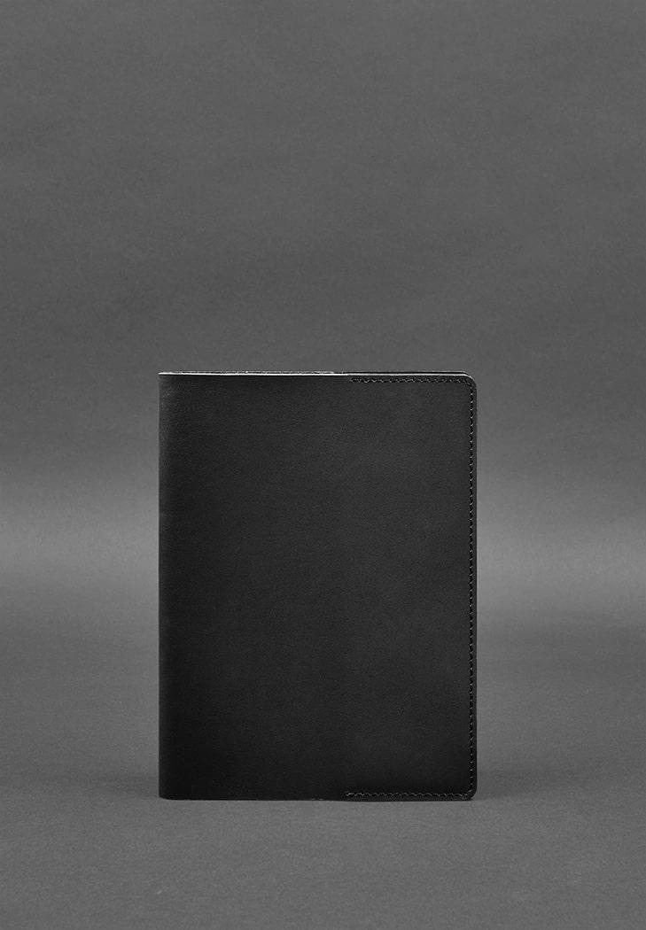 Фото Кожаная обложка для блокнота 6.0 (софт-бук) черная Краст