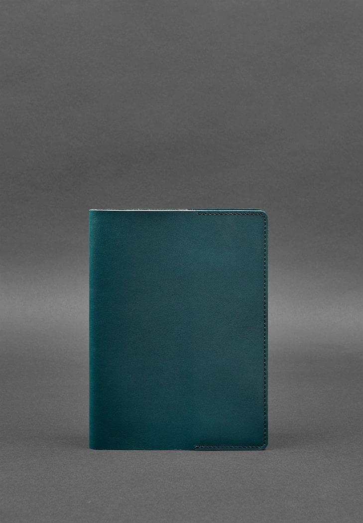 Фото Кожаная обложка для блокнота 6.0 (софт-бук) зеленая