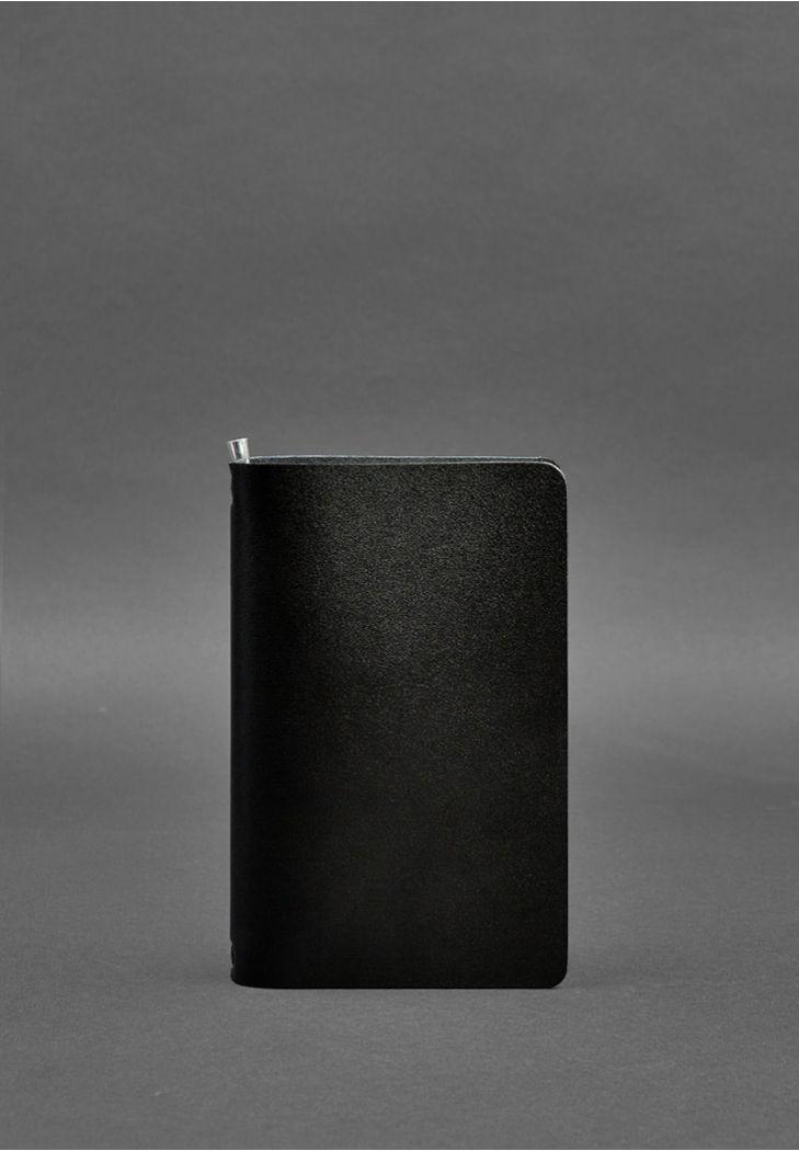 Фото Угольно-черный кожаный блокнот (софт-бук) 8.0 на резинке