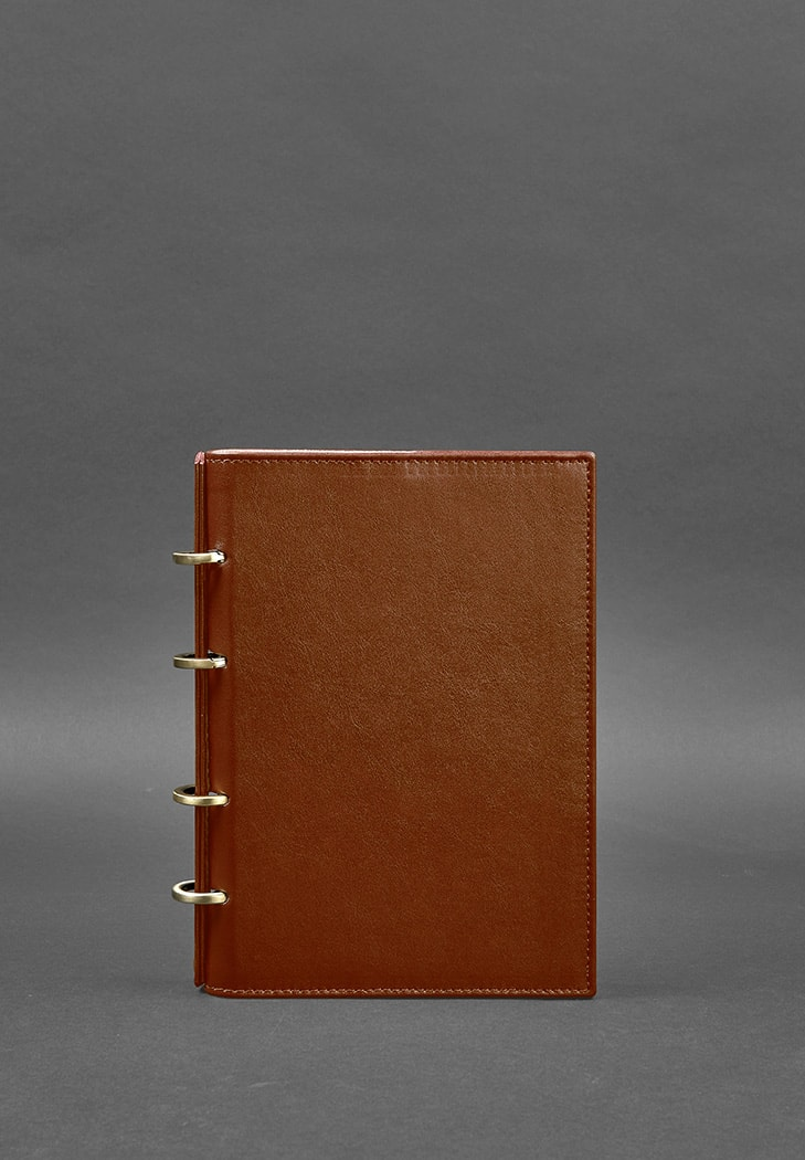 Фото Кожаный блокнот на кольцах 9.0 с твердой коричневой обложкой