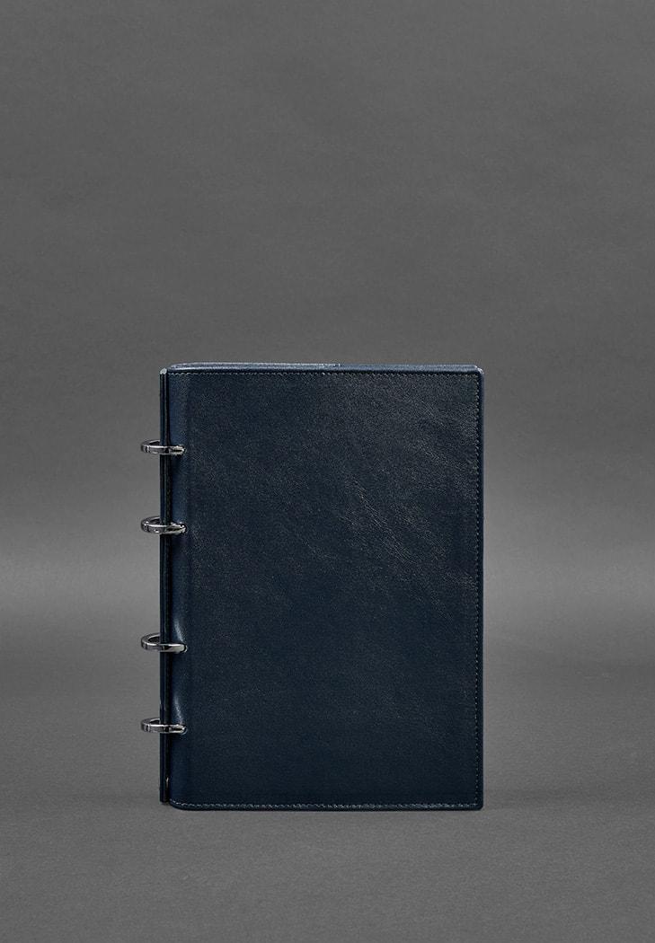 Фото Кожаный блокнот на кольцах  9.0 с твердой синей обложкой