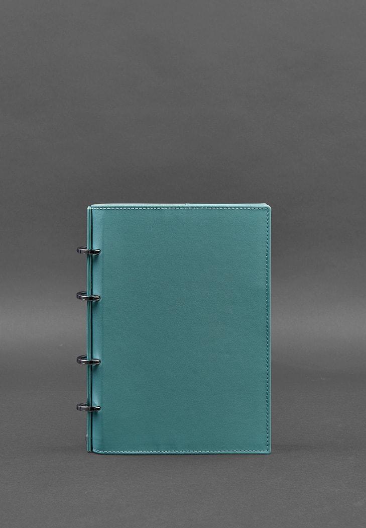 Фото Кожаный блокнот на кольцах (софт-бук) 9.0 с твердой бирюзовой обложкой BlankNote