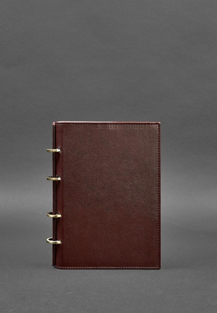 Фото Кожаный блокнот на кольцах (софт-бук) 9.0 с твердой бордовой обложкой BlankNote