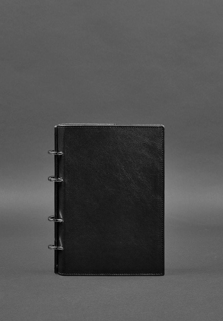 Шкіряний блокнот на кільцях 9.0 з твердою вугільно-чорною обкладинкою фото