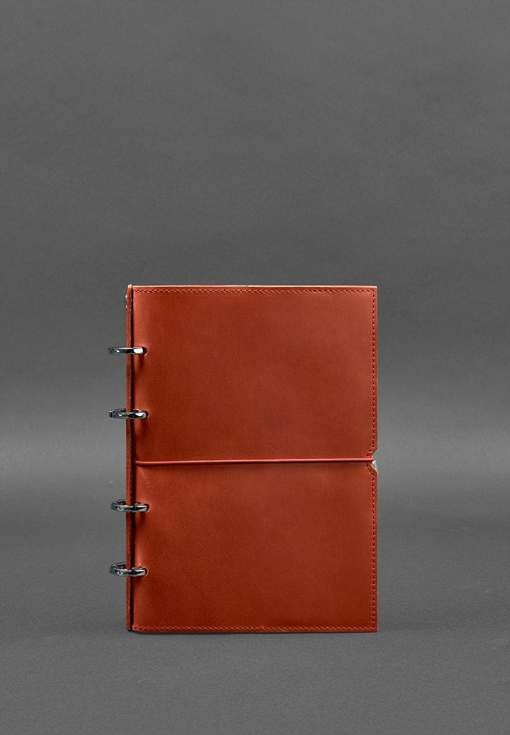 Фото Кожаный блокнот на кольцах (софт-бук) 9.0 в мягкой коралловой обложке
