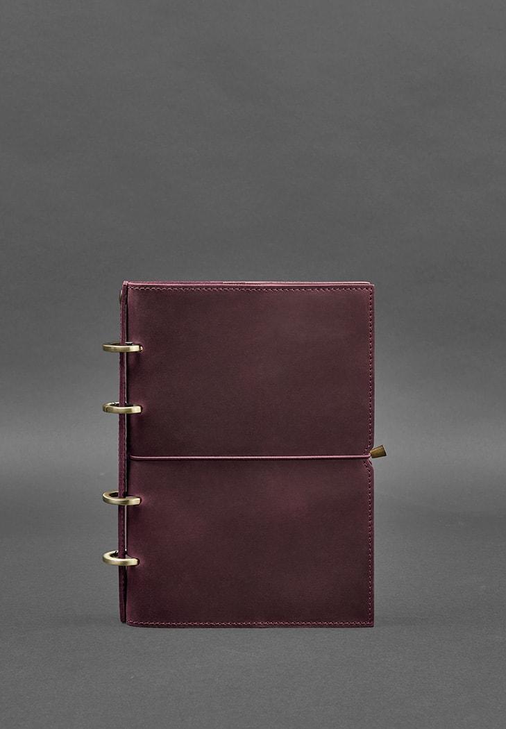 Фото Кожаный блокнот на кольцах (софт-бук) 9.0 в мягкой бордовой обложке