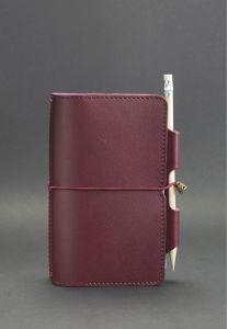 Кожаный блокнот (Софт-бук) 3.0 Виноград - бордовый