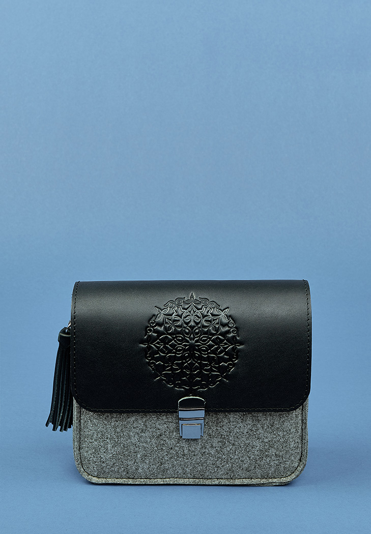882bc79222b7 Бохо-сумка Лилу фетр серый + черная кожа графит (BN-BAG-3-felt-g ...