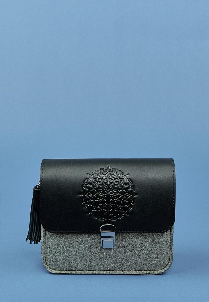 d8b6f1392be3 Бохо-сумка Лилу фетр+кожа графит (BN-BAG-3-felt-g) купить в Киеве ...